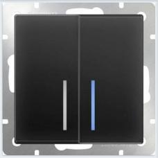 Выключатель двухклавишный с подсветкой (черный матовый) Werkel WL08-SW-2G-LED