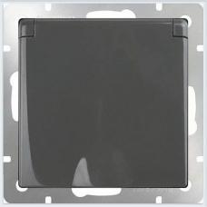 Розетка влагозащитная с заземлением с защитной крышкой и шторками (черный матовый) Werkel WL08-SKGSC-01-IP44