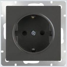 Розетка с заземлением и шторками (черный матовый) Werkel WL08-SKGS-01-IP44