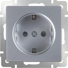 Розетка с заземлением и шторками (серебряный) Werkel WL06-SKGS-01-IP44