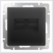 Розетка двойная Ethernet RJ-45 (черный матовый) Werkel WL08-RJ45+RJ45