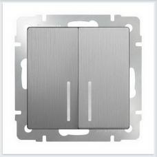 Выключатель двухклавишный с подсветкой (серебряный рифленый) Werkel WL09-SW-2G-LED