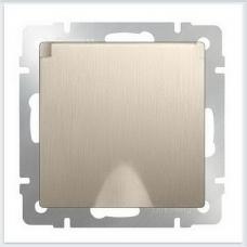 Розетка влагозащитная с заземлением с защитной крышкой и шторками (шампань рифленый) Werkel WL10-SKGSC-01-IP44