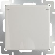 Розетка влагозащитная с заземлением с защитной крышкой и шторками (слоновая кость) Werkel WL03-SKGSC-01-IP44-ivory