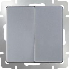 Выключатель двухклавишный проходной (серебряный) Werkel WL06-SW-2G-2W