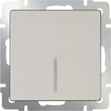 Выключатель одноклавишный проходной с подсветкой (слоновая кость) Werkel WL03-SW-1G-2W-LED-ivory