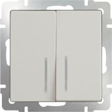 Выключатель двухклавишный проходной с подсветкой (слоновая кость) Werkel WL03-SW-2G-2W-LED-ivory