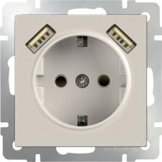 Розетка с заземлением, шторками и USBх2 (слоновая кость) Werkel WL03-SKGS-USBx2-IP20