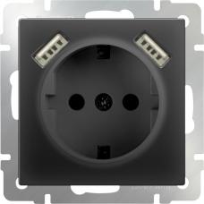 Розетка с заземлением, шторками и USBх2 (черный матовый) Werkel WL08-SKGS-USBx2-IP20