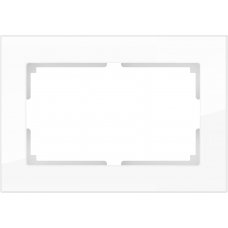 Рамка для двойной розетки (белый,стекло) Werkel WL01-Frame-01-DBL